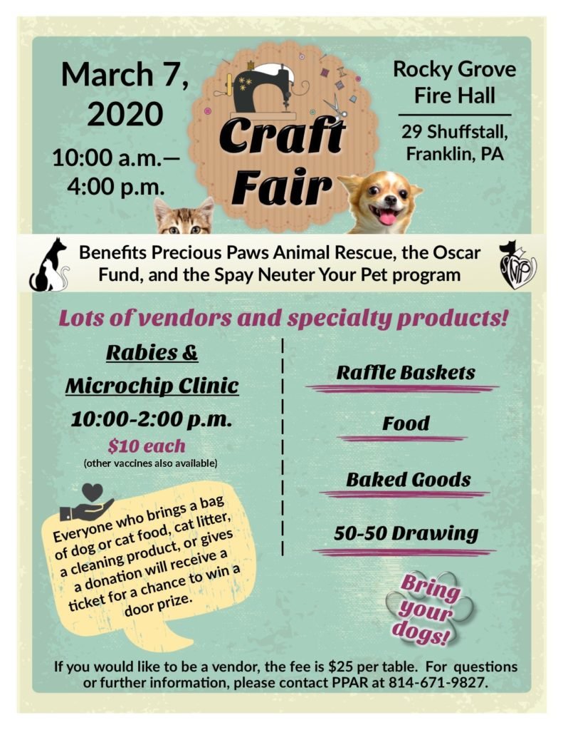 PPAR March 2020 Craft Fair Flyer